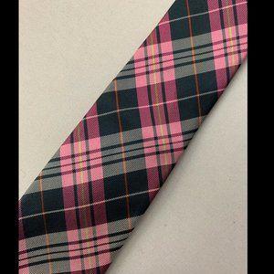 Ben Sherman Men's Pink Plaid Skinny Tie 100% Silk